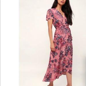 Mauve pink floral midi wrap dress